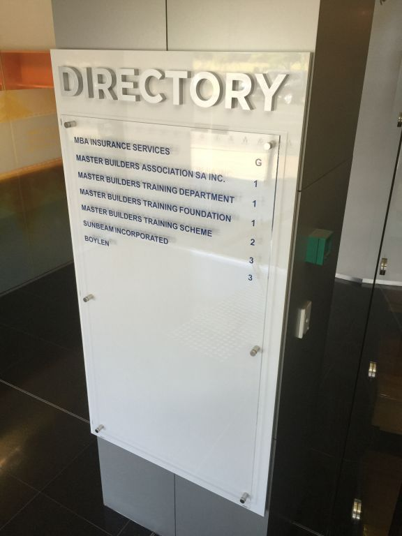3d Directory sign with metallic look letters and polished acrylic panel(3D257)