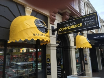 Curverd awnings with aluminium frames and vinyl skins (OS274)