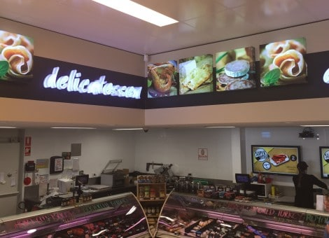Supermarket sign design Adelaide delicatessen