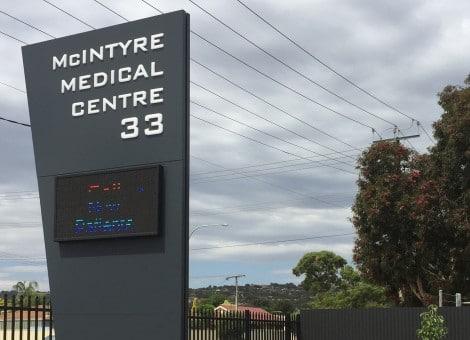 medical centre signage, pylon sign
