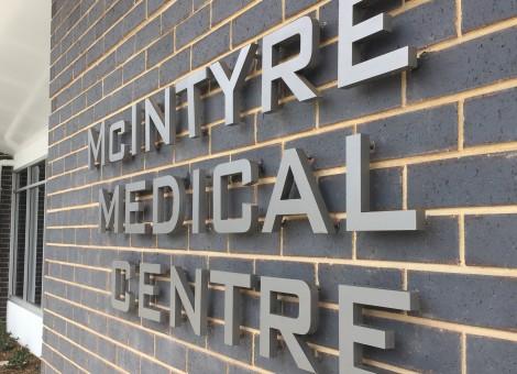 medical centre signage, front
