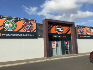 Sign boxes and vinyl signage, Megazone Adelaide