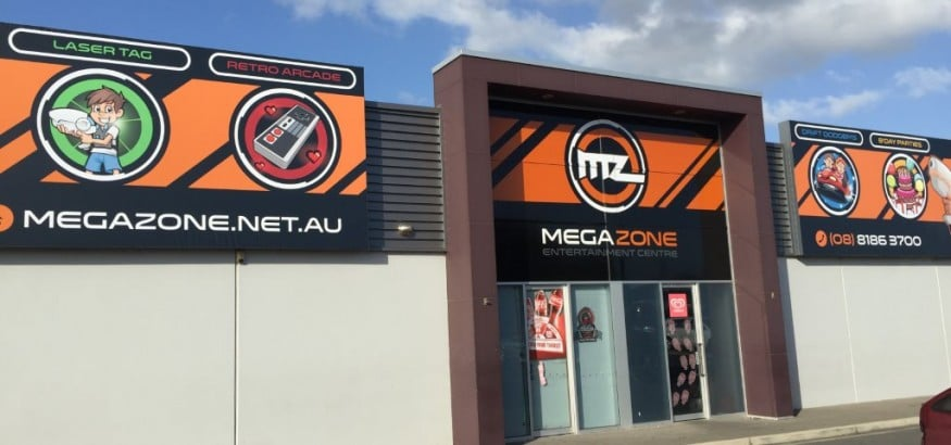 Sign boxes and vinyl signage, Megazone Adelaide